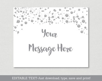 Silver Glitter Baby Shower Welcome Sign / Glitter Baby Shower / Glitter Confetti / Silver & White / Instant Download Editable PDF A157