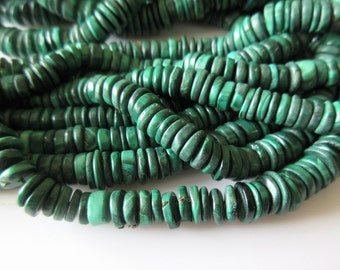 Malachite Tyre Bead Necklace, Natural Malachite Round Heishi Beads, 6.5mm To 10mm Beads, 9.6 Inch Half Strand, SKU-2580