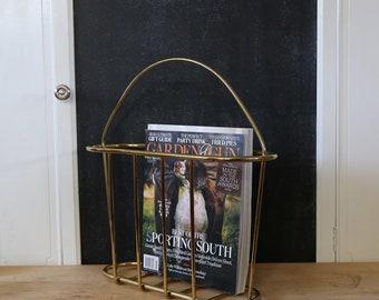 Vintage Brass Magazine Holder, Magazine Rack, Brass Home Decor, Brass Basket, Wire Basket, Minimal, Office, Photo Prop