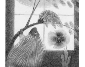 Porcupines with Poppy - porcupine art - porcupine print - 5x5 print