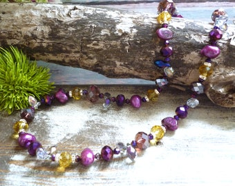 freshwater pearl necklace, mauve pearl necklace, crystal necklace, nugget freshwater pearl necklace, vintage inspired necklace,