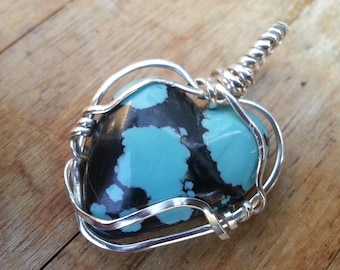 Hearth Shape Turquoise Pendant Wire Wrap Sterling Silver