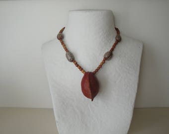Necklace large exotic fruit seed