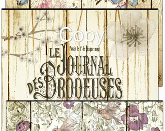 Instant Download  - 12x12 Vintage Wood and Floral Papers  - Printable  - Digital Download -