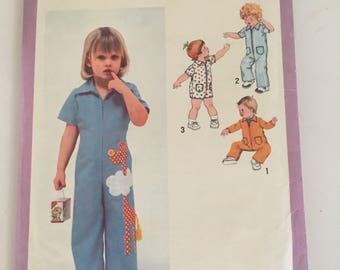 Vintage UNUSED 70s Toddler Romper Pattern in Different Lengths Simplicity 9092 Size 3T
