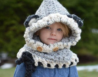 Crochet Wolf Hat Cowl. Made to Order. 12/18 months, Toddler, Child, & Adult sizes.