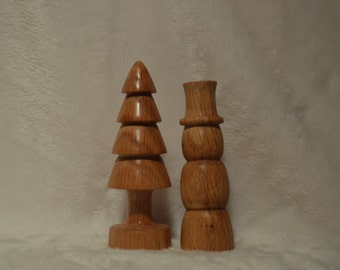 Snowman and christmas tree pair