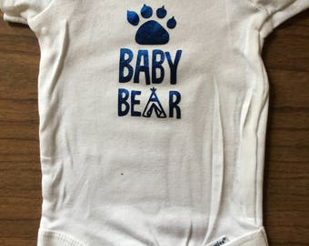 Baby bear, paw print, blue foil, onesie