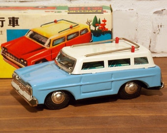 Vintage Tin Toy Car, Blue Station Wagon,  Friction Driven, Traveling Sedan, Mint In Original Box, MIB, Made in China, Collectible Toy