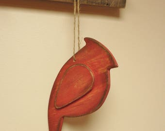 Rustic Cardinal Ornament - Made To Order, Wood Cardinal Ornaments, Primitive Christmas Decor