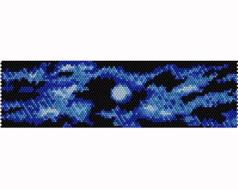 Abstract Moon Horizontal Peyote Bead Pattern, Bracelet - Bookmark Pattern, Seed Beading Pattern Delica Size 11 Beads - PDF Instant Download