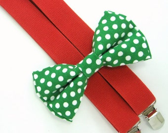 Christmas Bow Tie and Suspender set -Bow Tie and Suspender Set for Baby,Toddler and Boys, Suspender and bow tie set