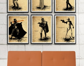 Star Wars Minimalist Movie Poster Set / Darth Vader, Boba Fett, Stormtrooper, Luke Skywalker, Princess Leia, Han Solo