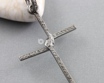 Pave Diamond Pendant, Pave Cross Pendant, Diamond Cross Pendant, Pave Diamond Cross Pendant, Oxidized Silver, (DP-1640)