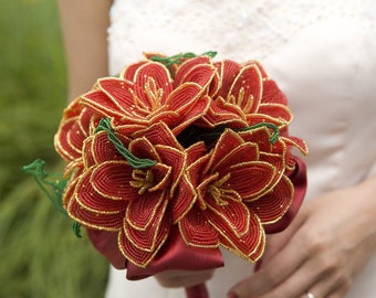 Crimson Passion French Beaded flowers wedding bouquet - Featured in My Day Magazine -made to order