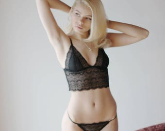 womens lace bralette with sheer mesh cups - CUPID - sheer mesh lingerie range - made to order