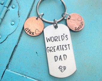 Personalized Dad Keychain, Fathers Day Gift From Kids, Worlds Greatest Dad Key Ring, Father Penny Keychain, Birthday Gift for Dad