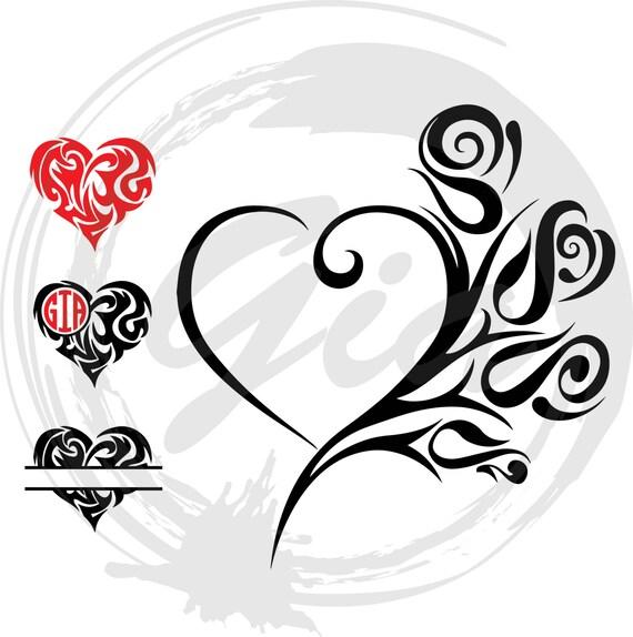 Tribal hearts monogram svg tribal roses svg ready to cut - Dibujos tribales para tatuar ...