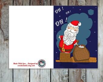 Biglietto di auguri stampabile con Babbo Natale che scende dal camino - DOWNLOAD ISTANTANEO-A6