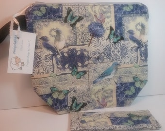 Periwinkle Birds and Butterflies medium project bag