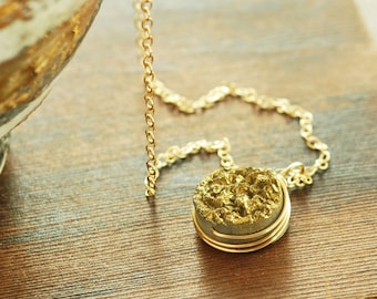 Gold Druzy Wrapped Gold Pendant Necklace, Drusy Jewelry