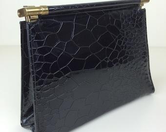 Garay black croc embossed structured clutch handbag 60s