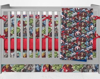 Crib Bedding Marvel Avengers Comics Spiderman Hulk Thor Iron Man Lolas Lovies handmade baby bedding