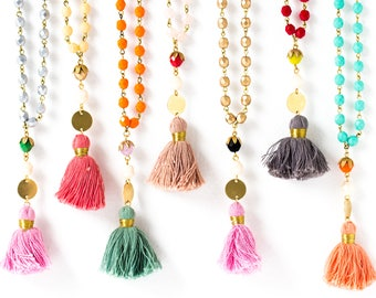Tassel Necklace  Long Tassel Necklace  Long Necklace  Hippie Tassel Necklace  Necklace with Tassel   Bohemian Necklace   Necklace for wife