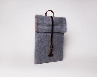 Waxed Canvas Leather Laptop Case | Waxed Canvas Laptop Sleeve | Gray Canvas Laptop | Minimalist Laptop Sleeve | Waxed Canvas Bag