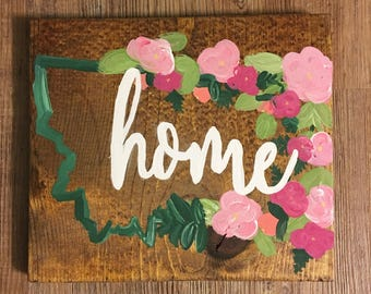 Floral State Home Sign