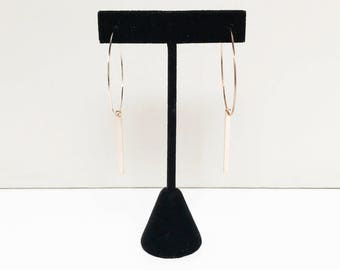 Minimal Rose Gold Hoop Earrings with Bar Detail