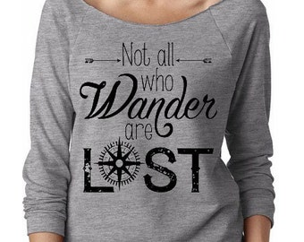 Not All Who Wander Are Lost Off Shoulder 3/4 Sleeve Raw Edge Terry Shirt, yoga clothes, workout top, boho style, slouchy top