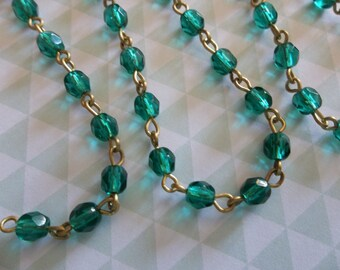 Bead Chain Emerald Green 4mm Fire Polished Glass Beads on Brass Beaded Chain - Qty 18 Inch strand