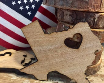 Wood shape cut out, any state, shape, size , custom cut out. Texas shape, wood magnet , state ornament , customize magnet, unfinished wood,