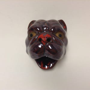 Bulldog, Mid Century Japanese Redware Pottery, Canine Home Decor, Vintage  Novelty Smoker Ashtray