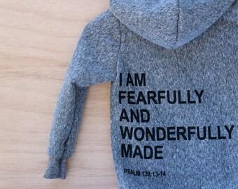 FEARFULLY and WONDERFULLY MADE, Psalm 139, sweatshirt, hoodie,  zip up hoodie, sweatshirts, black and gray, baby shower gift, boys, girls