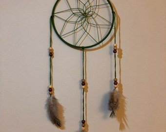 Forest Green Dream Catcher w/ Feathers (color options)
