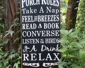 PORCH RULES Sign. Subway Art, Typography.  Word Art Sign. Primitive