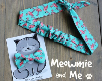 Matching Flamingo Print Hair Tie and Bow Tie for Cat Mom's and their Kitties, Coral, Teal, Rosie Wrap, Dog Bowtie, Summer, Made in Canada
