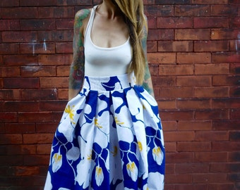 Vintage Pleated Midi High Waisted Full Skirt with Pockets|Plus Size Skirt|Floral Print Skirt|Maternity Skirt|Party Skirt|CottonSkirt|