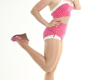 2 Piece Picnic Playsuit in Pink w/White Polka Dots