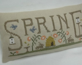 Spring Primitive Cross Stitch Mini Pillow , Beehive, Birdhouse, Rabbit