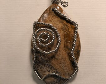 Picture Jasper, Silver wire with a 925 Sterling-filled snake chain.  J 5