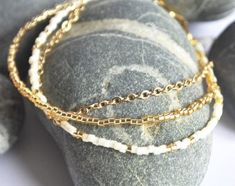 Wrap Bracelet Gold  & white  glass beads Cassiopée