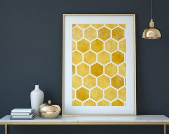 Bee print, bee art, honeycomb wall art, modern kitchen decor, yellow wall art, nature print, honey wall decor, bee nursery, honey bee
