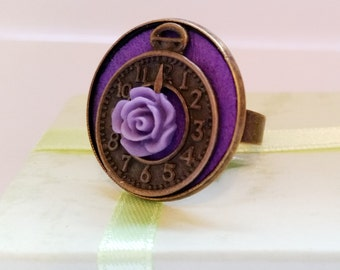 Gothic Vintage steampunk bronze purple watch clock and rose flower adjustable finger ring Israel Hand made