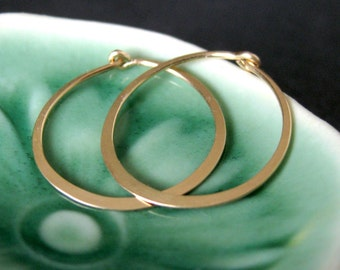 Solid 14k gold everyday hoop earrings - SMALL (3/4 inch - 20mm) - skinny hoop earrings, 14k yellow gold, rose gold and white gold