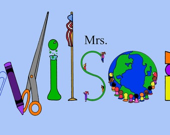 Teacher Name Art- custom, personalized name sign for your favorite teacher