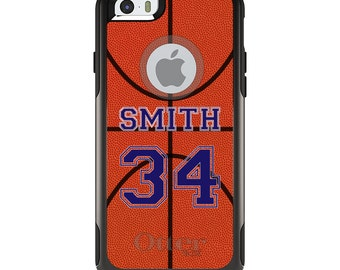 OtterBox Commuter for Apple iPhone 5S SE 5C 6 6S 7 8 PLUS X 10 - Custom Monogram or Image - Basketball Purple Number Name