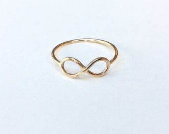 SOLID Gold Infinity ring - 14K Solid Gold Ring - 18 gauge/1.02mm Thick Gold Band - Marked 14K